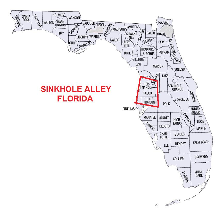 Map Of Sinkholes In Florida Where is sinkhole alley in Florida?